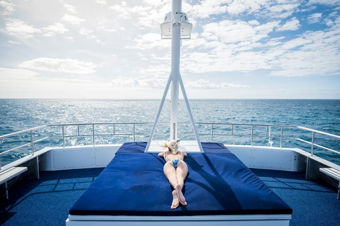 relaxing on the great barrier reef