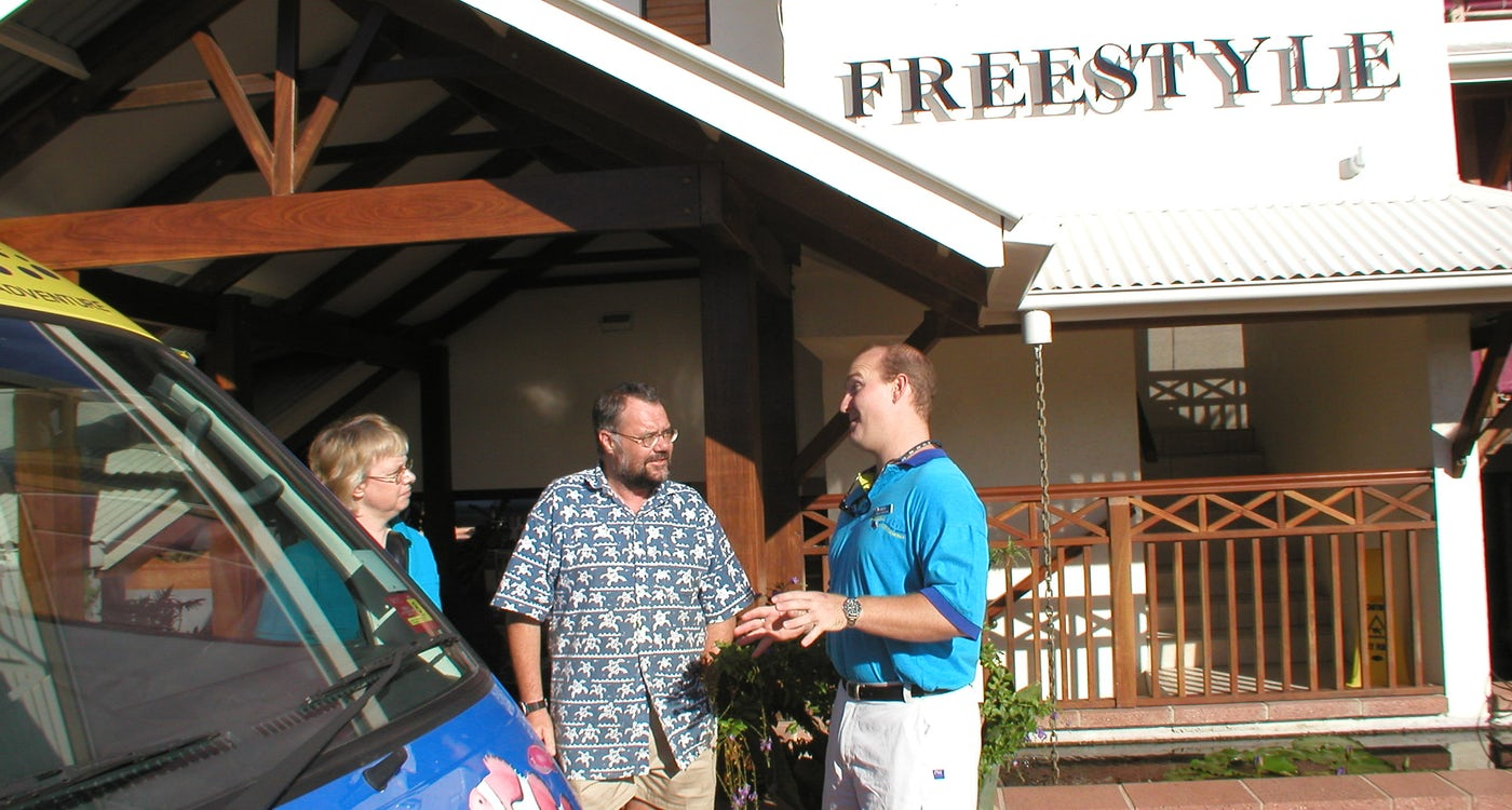 front entrance of port douglas resort freestyle