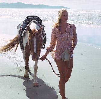 Wonga Beach Horse Ride with woman